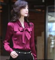Women's Long Sleeve Blouse Bowknot Slim Satin Chiffon Shirts Plus Size Tops Work Wear Camisas Blusas Femininas High Quality