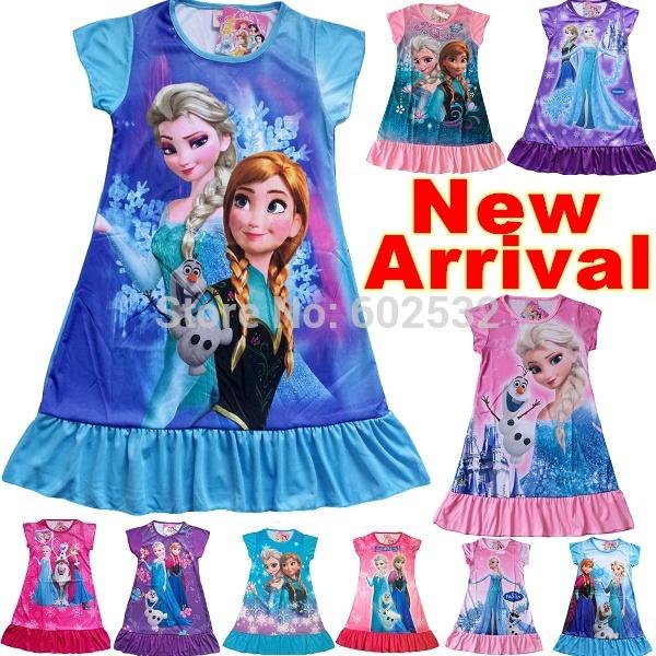 New 2014 summer frozen elsa anna princess Retail girl print dress brand children casual kids dress POLYESTER kids clothes party(China (Mainland))