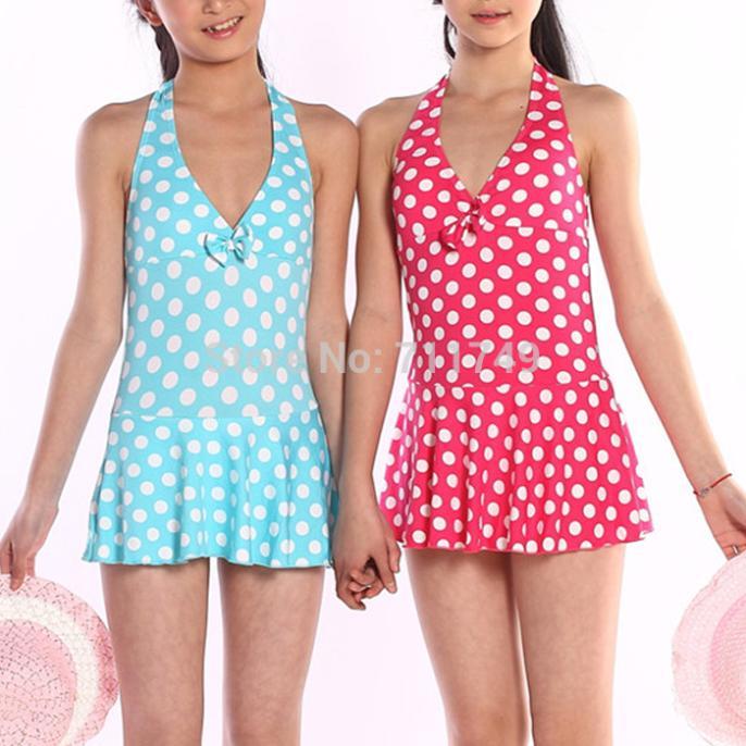 Children Girl Swimwear One Piece Polka Dots Girl Princess Swimsuit Bathing Suit Swimming Wear(China (Mainland))