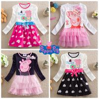 Peppa pig 18m/6y Nova New 2014 baby girls dress fashion cotton peppa pig clothes long sleeves dresses with bowknot H4643#