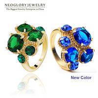 Neoglory AAA Zircon Rhinestone Engegement Green Blue Rings for Women Fashion Jewelry Accessories Brand Gothic 2014 New Hot Gift