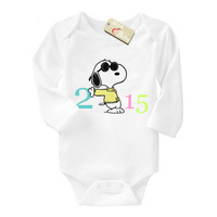 Brand Mom Love Baby I was born in 2015 baby romper 0-24 months cartoon one piece long sleeve cotton newborn baby bodysuits