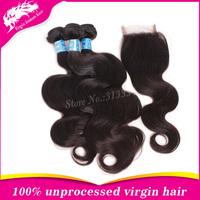 2014 Hot sale top quality peruvian virgin hair peruvian body wave human hair 3pcs weft& 1pcs (4*4) lace closure