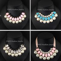 Pearl Choker Collar Vintage 2014 New Fashion Ribbon Bead Rhinestone Chain Neon Statement Necklaces & Pendants Women Jewelry Gift