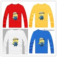 New 2014 cartoon anime figure despicable me minion clothes minion costume kid clothes, long sleeve t shirts,girls boys' t-shirts