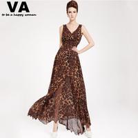 [VA] New women summer leopard dress maxi dresses long chiffon v-neck casual dress woman Plus Size xxxl xxl xl s 2015 new P00087