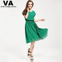 Women Summer Casual Dress Plus Size Chiffon Cute Green Black Short Sleeve knee-length Dress XL XXL XXXL woman 2015 spring P00085