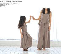 Hot sale mother and daughter 2014 new summer family fashion long girls Modal maxi elegant brown dress child clothes teenager
