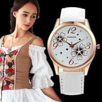 2014 Watches Cartoon Watch Hour Marks Round Dial Case With Flower Leather Strap quartz Watch For Women Ladies Girls Atmos Clock