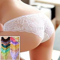 Wholesale Sexy lingerie Women Lace Vest G-string Underwear Briefs Intimates Ladies G String Thong Panties T Back Underwear BGLC6