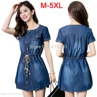 XXXXXL New 2015 Fashion Denim Dresses Ladies Jeans Dress for Summer Casual Big Size Women Clothes Plus Size Women's Clothing 5XL