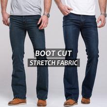 2014 mens jeans boot cut leg slightly flared slim fit famous brand blue black male jeans designer classic denim Jeans(China (Mainland))