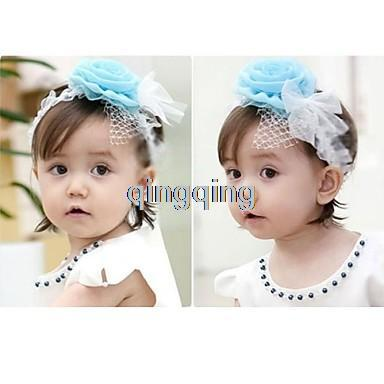 Wholesale - 15 pcs/Lot baby girl crochet flower hair bow flower lace headbands hair band hairlace baby hairbow headban 3colors(China (Mainland))