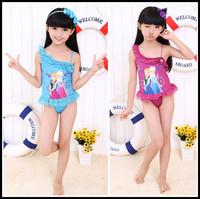 New 2014 Frozen Elastic Close-Fitting Girls Swimwear Elsa And Anna One Piece Swimsuit Girl Print Dress Brand Swimsuit For Girls