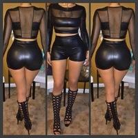 2014 faux leather patchwork 2 piece sexy women black lace club dress short dress casual prom bandage dress mini bodycon bodysuit