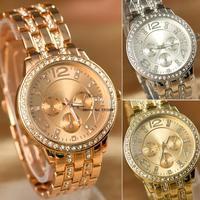 New Arrival Women Rhinestone Analog wrist Watches Geneva Steel Watches Fashion Gifts Quartz watch Dropshipping b11 SV000395