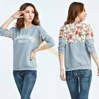 2014 Fashion Spring Women's Hoodies Loose Sweater Lady Tops Blouse Lace Stitching 3D Flowers #12 18246