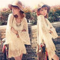 2014 New Vintage Hippie Boho Bell Sleeves Gypsy Festival Fringe Shirt Lace Embroidery Dress Blouse Apricot Ruffle Tassel Dress