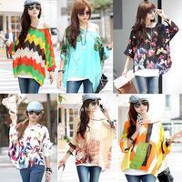 New 2014 Summer Women's Fashion Batwing Long Sleeve Chiffon Shirt Bohemian Style Tops Oversized Blouse 6 Colors B19 SV000978