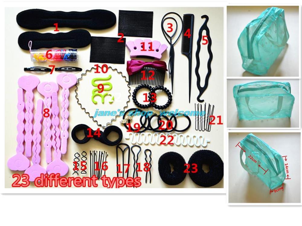 23 Arten haar lamellenpaket Styling-Tools hiarpin clip donuts haarband Gerät lockenwickler trendy hairwear haar-accessoires