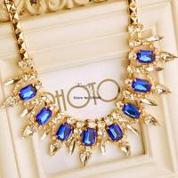Women Noble Western statement elegant Punk crystal Rinestones choker Pendant Chain necklace jewelry b9 SV002576