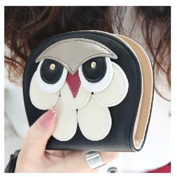 Высокие рекомендовать и квалифицированные PU материалы женщины сова кошельки Мода 2014 короткая конструкция портмоне OWL женщин