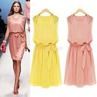 Hot sell Spring And Summer Female Womens Chiffon Handmade Bead Shoulder Bow Belt Sleeveless Pleated Tank Vest Dress B26 sv001303