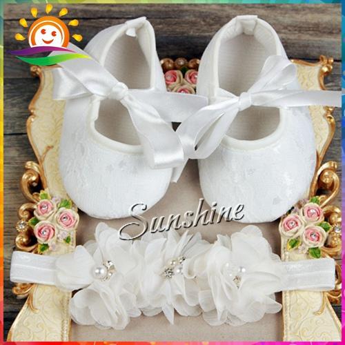 Flower Rhinestone/pearl Baby shoes Headband set,Soft sapato de bebe,Christening Baptism lace shoes for kids #2B1931 3 set/lot(China (Mainland))