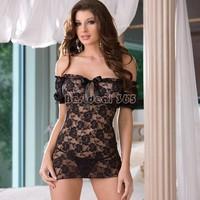 2014 New Summer Women Ladies' Sexy Lingerie Hot Black Charming&Exquisite Lace Lingerie Underwear Dress + G-String B16 1722