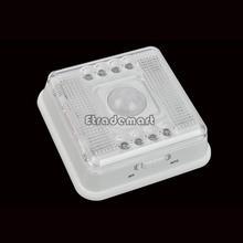 Infrarrojo inalámbrico 8 Luz de noche LED de iluminación de la lámpara PIR Auto Motion Sensor Case White Detector batería # 8 TK0035(China (Mainland))