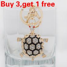 novedad llaveros rhinestone tortuga tortuga animales llavero moda llaveros de metal cristal anillo regalo titular(China (Mainland))