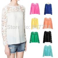 Add 5 Colors! 2015 New Tops Women Blouse Lace Chiffon Long Sleeve Blouse Plus Size blusas de manga comprida blusa renda T45018