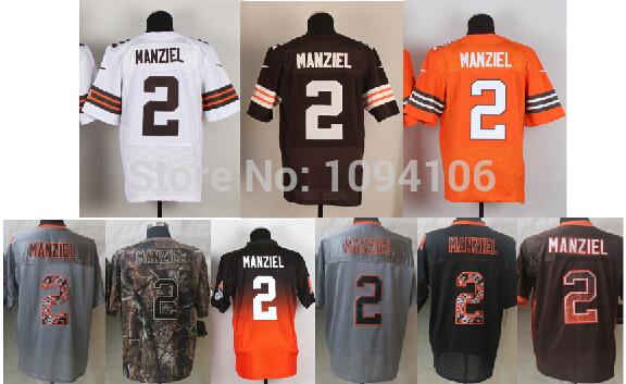 #2 Johnny Manziel Jersey Team Color White Orange 2014 New Draft Elite Game Limited Mens Football Jerseys 2 Manziel Rookie Jersey(China (Mainland))