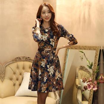 С поясом 2014 мода принцесса офис женщины винтажное платье леди летние цветочные платья 3/4 рукав большой Qulity #3SV003130