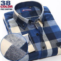 free Shipping Time-limited Spring Autumn Men shirts Casual Blouse Long Sleeve Plaid Flannel Shirt Sanded Quality 100% Cotton