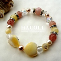 MANIFEST LOVE Crystal Intention Beads Healing Stone Strawberry Quartz bracelet