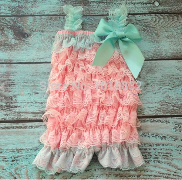 Aqua Dark Pink Baby Lace Romper,Baby Ruffle Rompers,Newborn Baby Birthday Romper(China (Mainland))