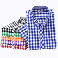 2014 new men bright color plaid shirt slim design male short sleeve casual shirt men colorful top quality cotton shirts