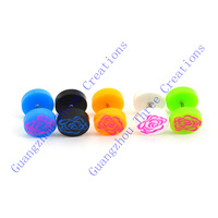 35 pairs 10mm Mix Candy Colors Rose Flower Round Plastic Stud Earrings,Fashion Earring Stud,Stainless Steel Earring #30452