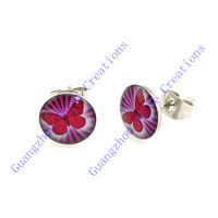 18 pairs 10mm Plum Butterfly Stainless Steel Stud Earrings,Fashion Earring Stud,Stainless Steel Earring #30442