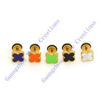 8mm Random Colors Stainless Steel Flower Stud Earrings 25 pairs/lot #30449