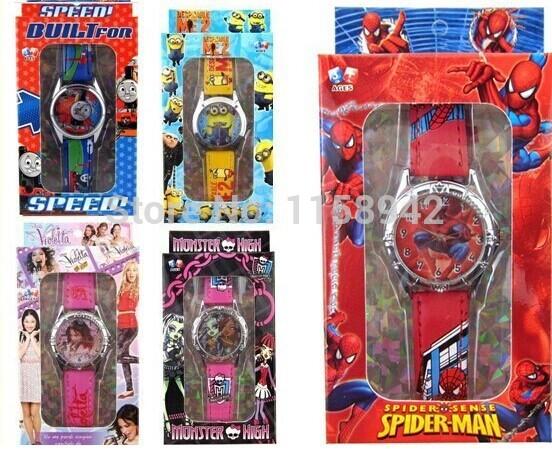 Free shipping 10pcs lot monster high spiderman watch kids fashion
