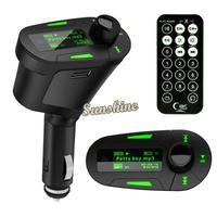 2014 New High Quality Green Kit Car MP3 Player Wireless FM Transmitter Modulator USB SD MMC LCD Remote b4 SV004148
