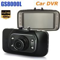 "New Arrival 2.7"" Car DVR NovatekGlass lens 1920*1080P Full HD4 IR Lights 120 Degreecar camera recorder GS8000L Free shipping"