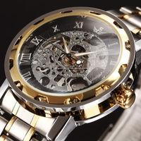 2014 NEW Steampunk Clock Mens Hand Wind Mechanical Mens WristWatch