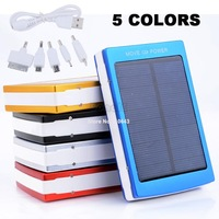5 Colors 30000mAh Solar Power Bank Solar Charger Panel 2 USB Port 5 Adapters USB Charger Cable for iPhone for iPad #4 SV004189
