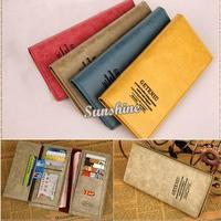 2014 Fashion 4 Colors Lady Women Retro Leather Purse Clutch Long Wallet PU Card Holders Handbags Free Shipping B6 SV003740