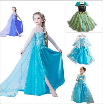 2015 марка дети девочки принцесса анна эльза платье мультфильм косплей девушка платья, дети принцесса одежды. бесплатная доставка