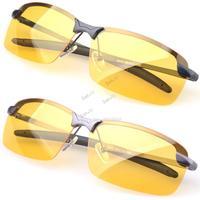 New 2014 Sport Glasses Driving Sunglasses Yellow Lense Night Vision Driving Glasses Polaroid Goggles Reduce Glare #14 19865