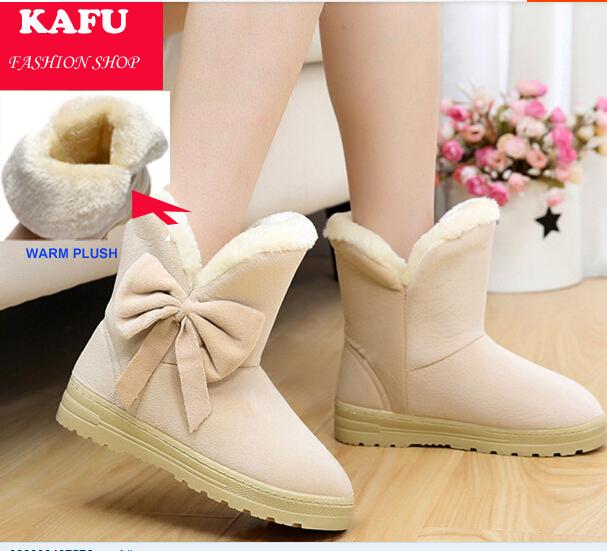 Nouveau 2014 hiver, mode flats chaussures femmes bottes de neige en peluche arc, épaissir chaud marque bottes en daim bottes d'hiver pour femmes/filles.